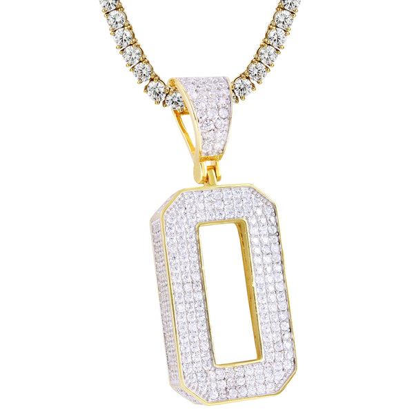 Silver Bling Block Numbers 0-9 Numbers 14k Gold Finish Pendant