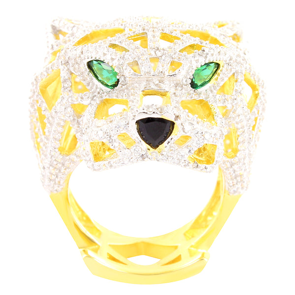 14k Gold Finish Green Eyes Panther Men's Silver Ring