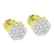 Cluster Set Round Earrings Flower Design Gold Tone Lab Diamonds Screw Back 8mm