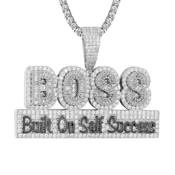 Mens Built on self success Boss Baguette Double Layer Pendant