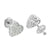 Screw Back Heart Earrings Womens Ladies Studs