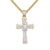 14k Gold Finish Star Jesus Baguette Cross Silver Pendant Chain