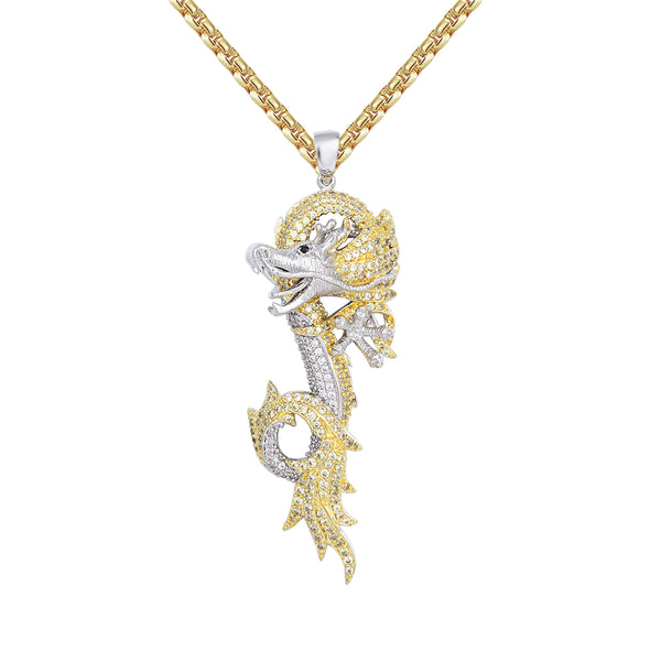 Men's Custom Canary Chinese Dragon Hip Hop Pendant Chain
