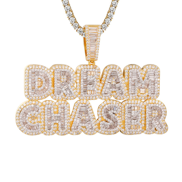 Baguette Icy Dream Chaser Gold Tone Pendant Tennis Chain