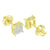 Cluster Set Earrings Yellow Gold Finish Square Design