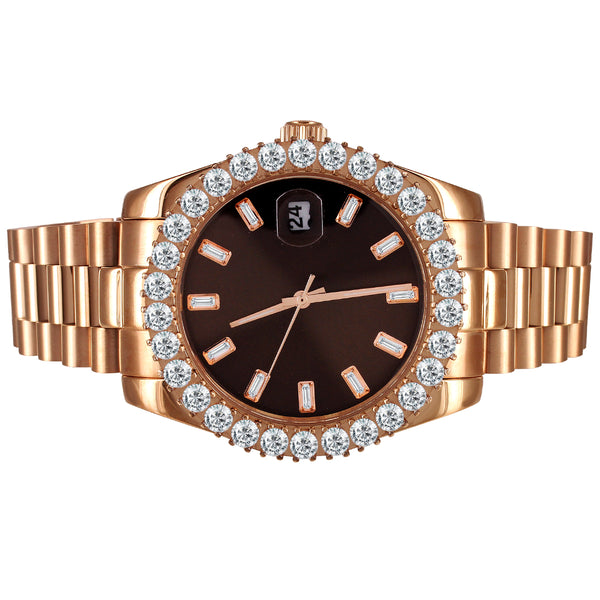 Chocolate Brown Baguette Dial 41mm Icy Bezel Rose Gold Watch