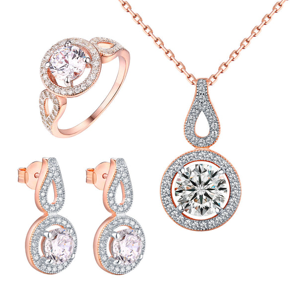 Rose Gold Tone Earrings Solitaire Ladies Ring Pendant Necklace
