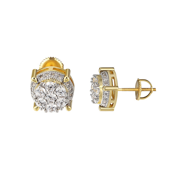 Solitaire Round Cut Earrings 14k Gold Finish Prong Set Screw Back 11mm Studs New