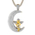 Praying Baby Angel Crescent Moon Gold Tone Pendant