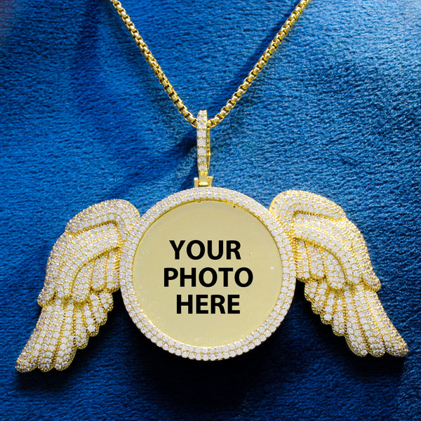 Custom Memory Angel Wings Icy Picture Memory Gift Pendant