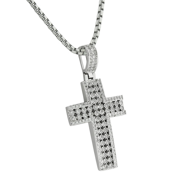 Prong Set Cross Pendant 14K White Gold Finish Stainless Steel Necklace Box Chain Jesus Christ