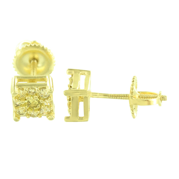 Square Shape Men Earrings Cluster Set Yellow Gold Finish