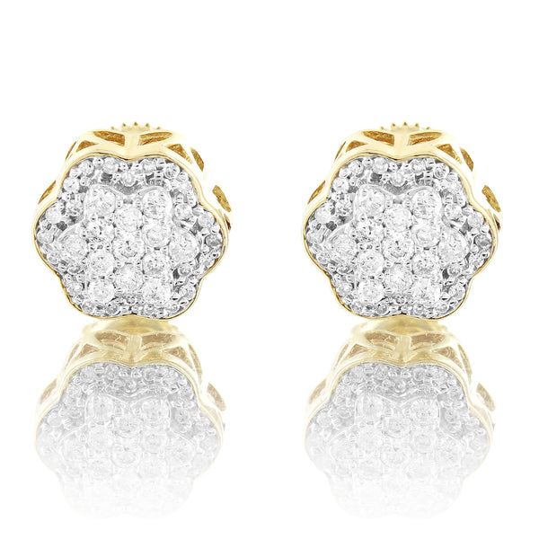 Real Diamonds 0.47Ct Flower Circle Micro Pave 10k Gold Stud Earrings