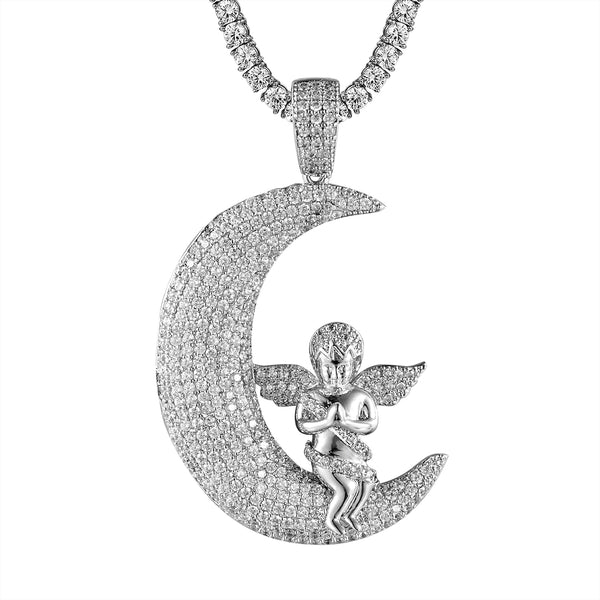 Guardian Praying Angel Crescent Moon  Faith Bling Pendant