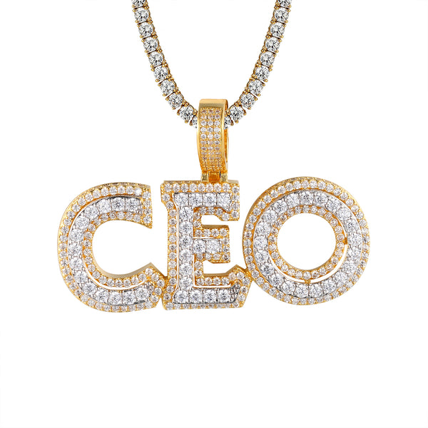 Mens 3D Double Layer CEO Hustler Gold Tone Bling Pendant
