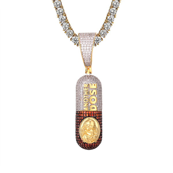 Another Dose Benjamin Franklin Pill Capsule Gold Tone Pendant
