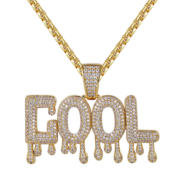 14k Gold Finish Cool Drip Letter Rapper Pendant Chain