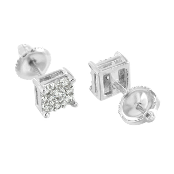 Cluster Set White Earrings Screw Back Square Shape