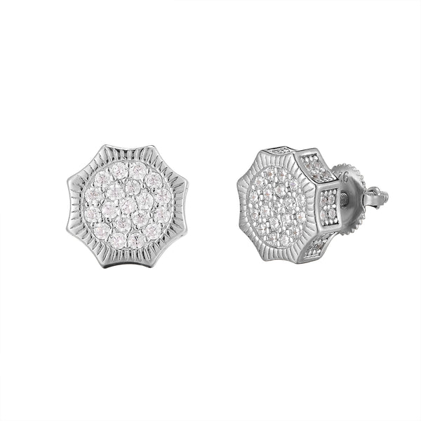 Round Solitaire Fluted Border Icy Sides Silver Octagon Earrings