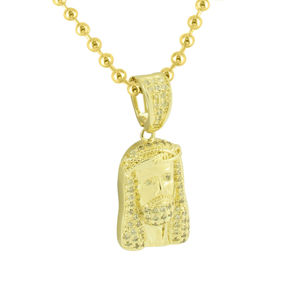Yellow Gold Jesus Pendant 14K Finish Yellow Lab Created Diamond Christ Charm Men