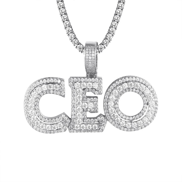 Men's 3D CEO Double Layer  White Tone Hustler Pendant