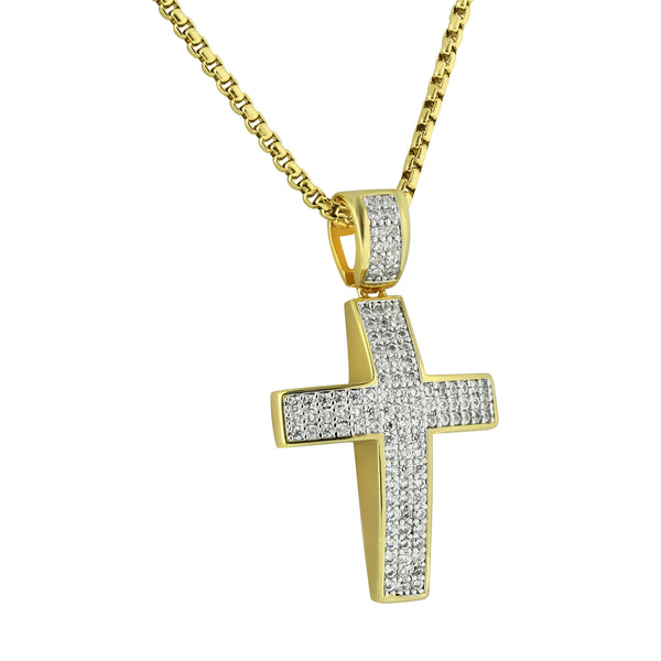 Cross Pendant 14K Gold Finish Stainless Steel 24