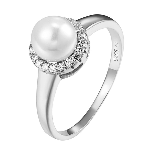 Sterling Silver Ring With White Pearl Style Solitaire Halo Women Wedding Promise