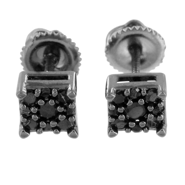 Earrings Black Gold Finish Square 6mm Screw Back