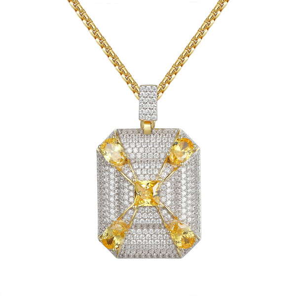 Custom Yellow CZ Iced Out Medallion DogTag Pendant