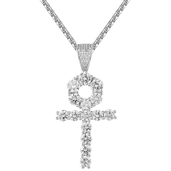 Solitaire Religious Ankh Cross Sterling Silver Pendant Chain