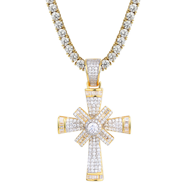 New Baguette Iced Out Star Spinner Cross Silver Pendant