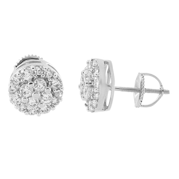 Round Cluster Set Earrings Prong Simulated Diamonds 14K White Gold Plated Screw Back