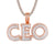 Double Layer CEO Micro Pave 14k Rose Gold Tone Hip Hop Pendant