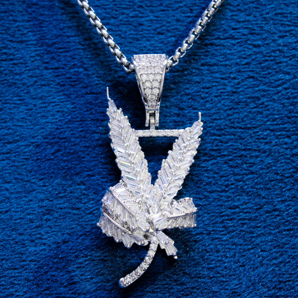 weed cannabis leaf diamond baguette joint pendant