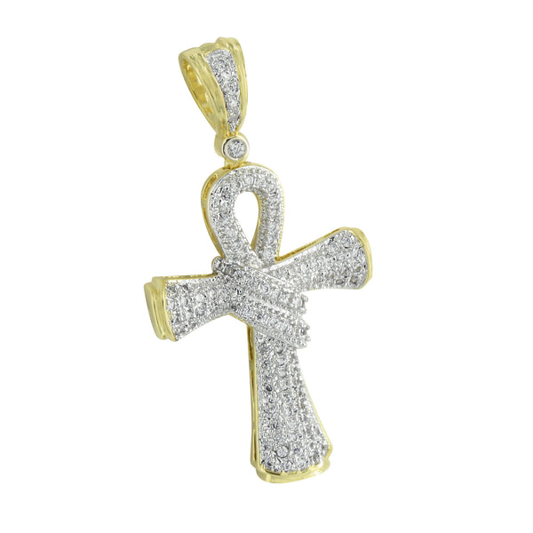 Ankh Cross Pendant Gold Finish Lab Diamonds