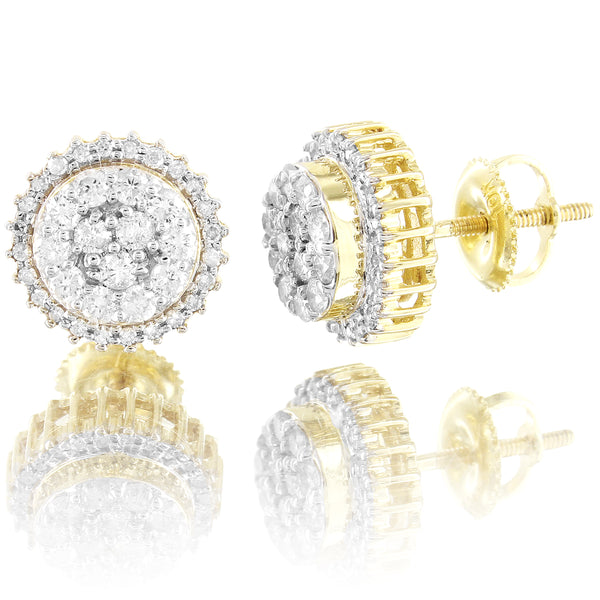 10k Gold Flower Cluster 10MM 0.62Ct Real Diamonds Micro Pave Earrings