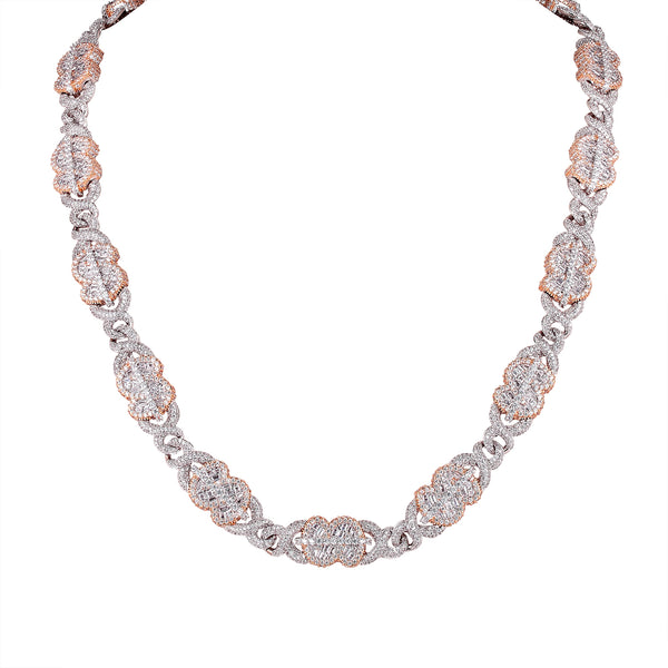 Icy Rose Gold Dollar Money Baguette Infinity Cuban Necklace