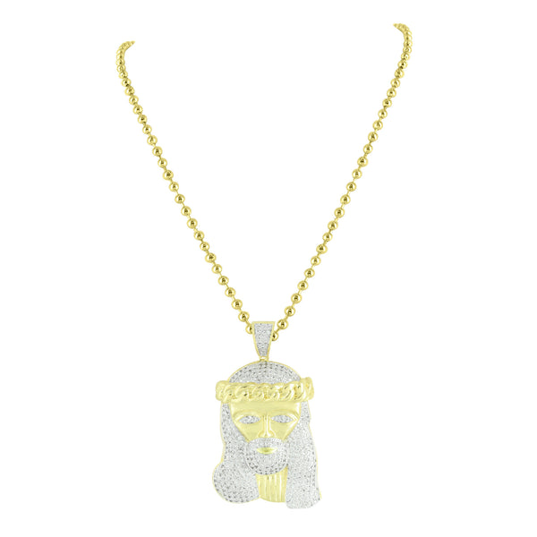 Miami Cuban Design Jesus Pendant 14k Gold Finish Steel Chain Lab Created Diamond