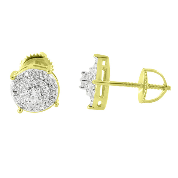 Hip Hop Earrings Iced Out Simulated Diamonds Prong Set Solitaire Screw Back Studs 8mm Classy