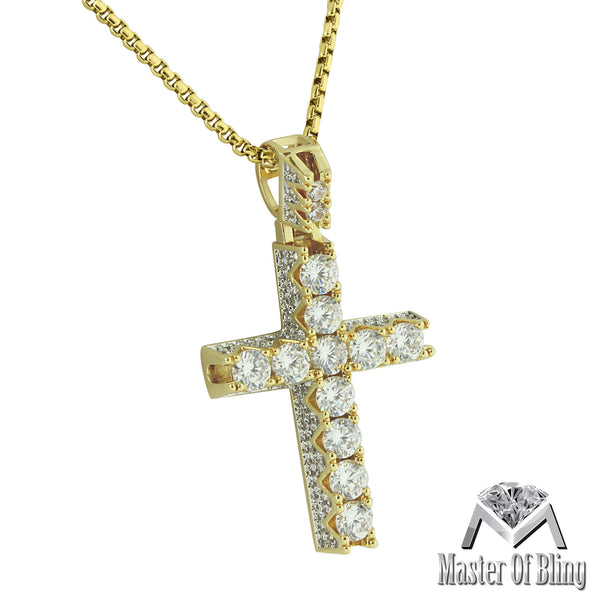 Round Cut Solitaire Cross Pendant 14k Gold Finish Lab Diamonds Stainless Steel 24