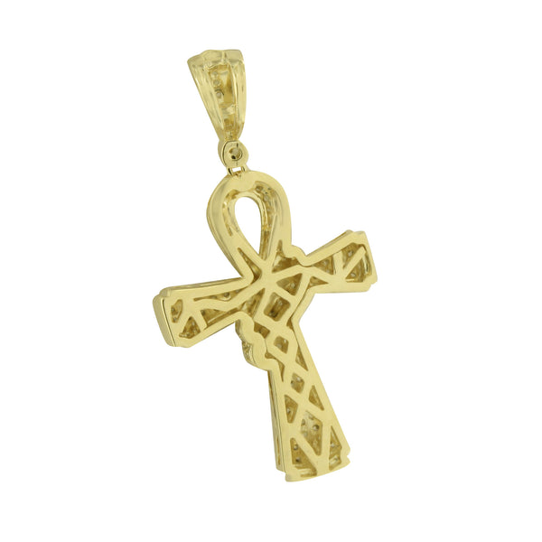 Cross Pendant Yellow Simulated Diamonds Iced Out Designer Mens Womens 1.6