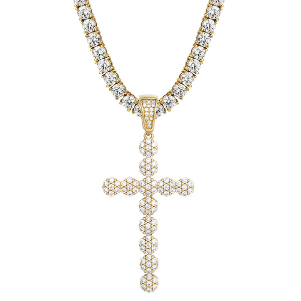 New Cluster Flower Prong Set Iced Out Cross Silver Pendant