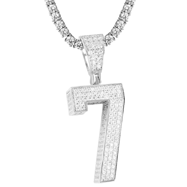 Sterling Silver 0-9 Bling Block Letter Number Custom Pendant