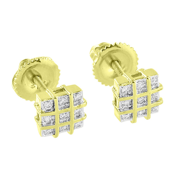 Square Earrings 14K Gold Finish Simulated Diamonds Screw Back Mens Womens Studs