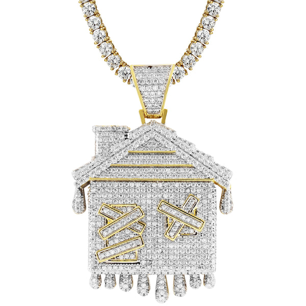 New Dripping Trap House 14k Gold Finish Custom Pendant Chain