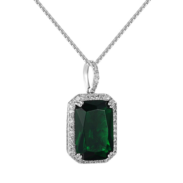 Mini Green Ruby CZ Royal Silver Tone Pendant Chain Set Rick Ross Steel Necklace