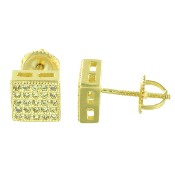 Earrings Square Face Screw Back Micro Pave Gold Finish