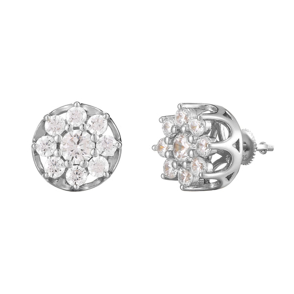 Icy Prong Flower Shaped Cluster Solitaire Silver Earrings