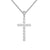Designer Men's Solitaire Cluster Flower Silver Cross Pendant