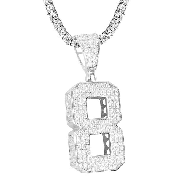 Sterling Silver 0-9 Iced Out Block Letter Number Custom Pendant